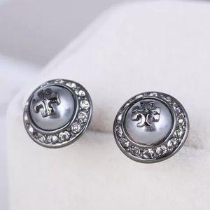 Tory Burch Gunmetal Gray Crystal Pearl Earrings